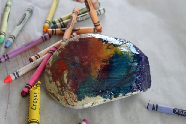 Hot Rock Melted Crayon Art