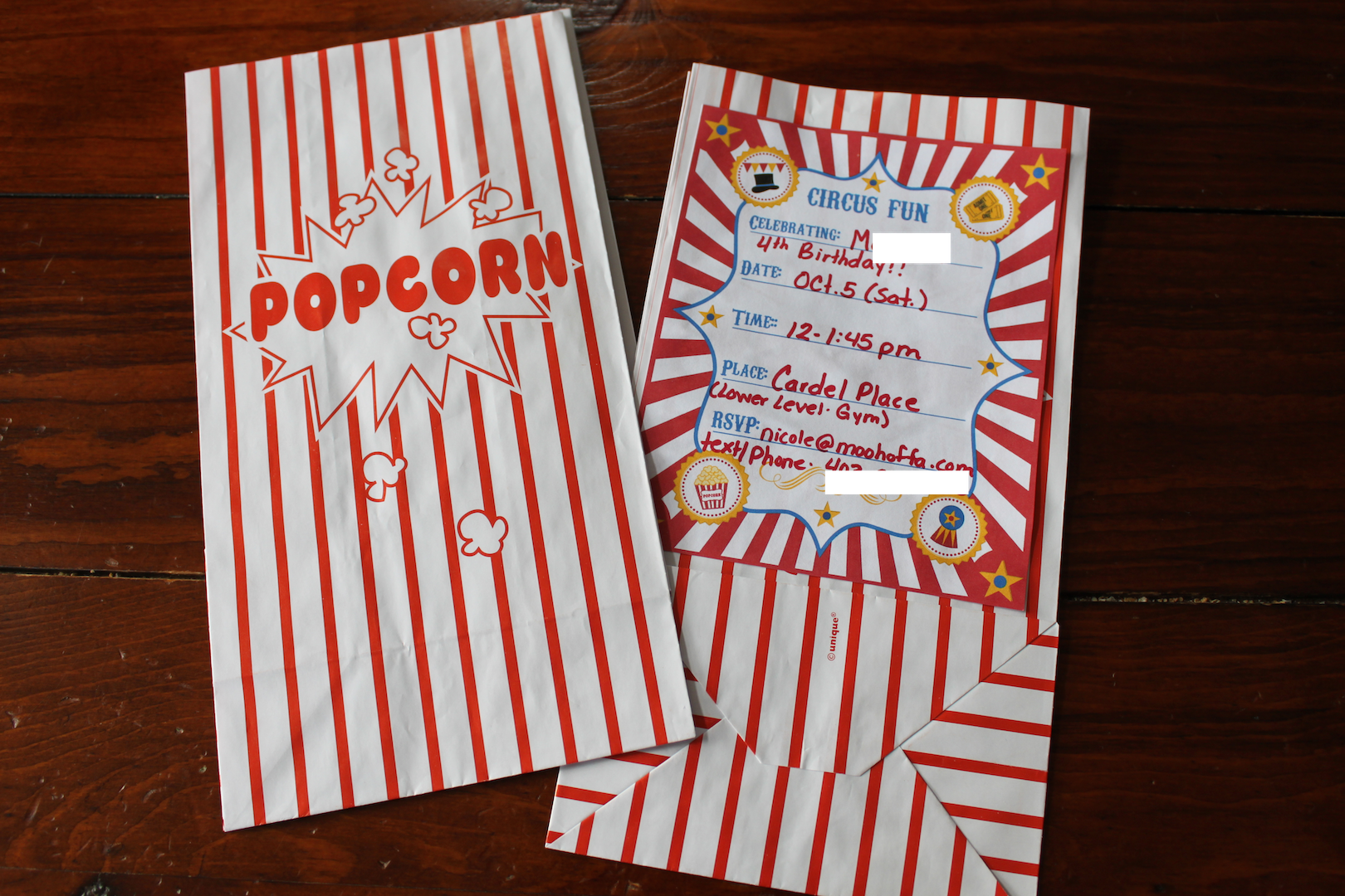 Popcorn Bag Invite Mini Banner Carnival