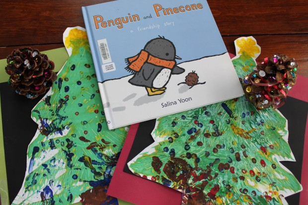 Penguin and Pinecone: Fork Tree Paintings and Pinecone Christmas Trees