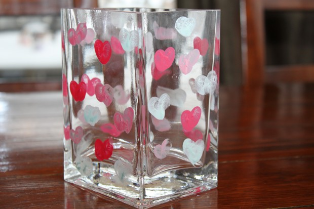 DIY Thumbprint Heart Vase