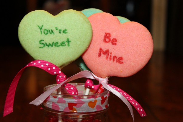 Conversation Heart Cookie Pops