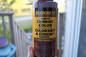 We also made our cement brick red by adding a container of liquid cement colour (also by Quikrete)