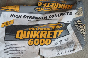 1 bag of high strength concrete (we used Quikrete)